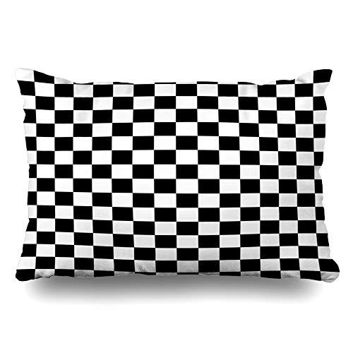 Ahawoso Throw Pillow Cover Queen 20x30 Checker Black White Tiles Pattern Checkerboard Check Chess Board Simple Zippered Cushion Case Home Decor Pillowcase