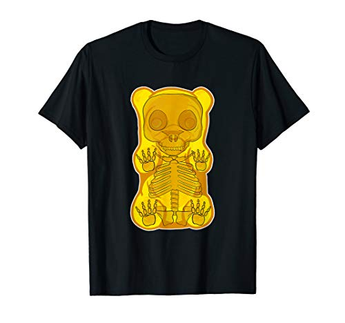Classic Yellow GUMMY BEAR Skeleton Anatomy halloween T-SHIRT -