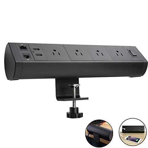 Desktop Clamp Power Strip with 4 AC Outlets and 2 USB Ports, Desk Power Strip Clamp with Telephone(CAT 3) and Ethernet Port(CAT 5),5ft Extension Cord.Removable Mount Tabletop Outlet for Office