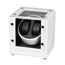 JQUEEN White Automatic Double Wood Watch Winder Display Case Japan Motor