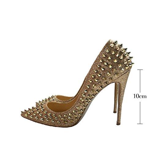 Kultaa Glitter Korkokengät Kengät Hopeinen Vilisevä Piikit 10cm Niitit wwSxqfAU1