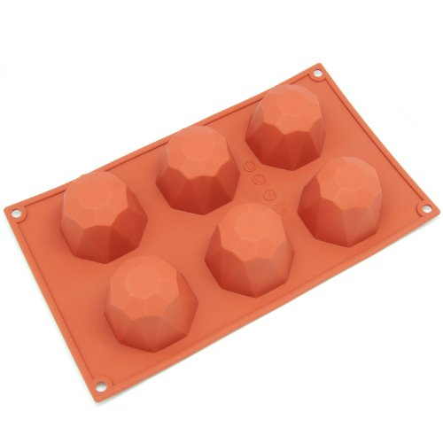 Diamond Silicone Baking Cups - Freshware SL-111RD 6-Cavity Diamond Shape Silicone Mold for Soap, Cake, Bread, Cupcake, Cheesecake, Cornbread, Muffin, Brownie, and More