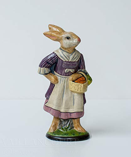 Vaillancourt Folk Art Colonial Lady Gardener Rabbit