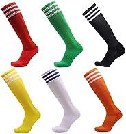 VWU 5 Pairs Unisex Knee High 3 Three Stripes Athletic Soccer Football Tube Socks