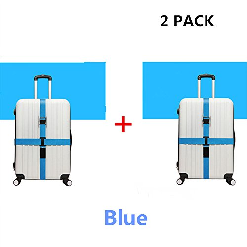 JYHY Long Cross Luggage Straps Suitcase Belts,2 Pack(Blue&Blue) by JYHY