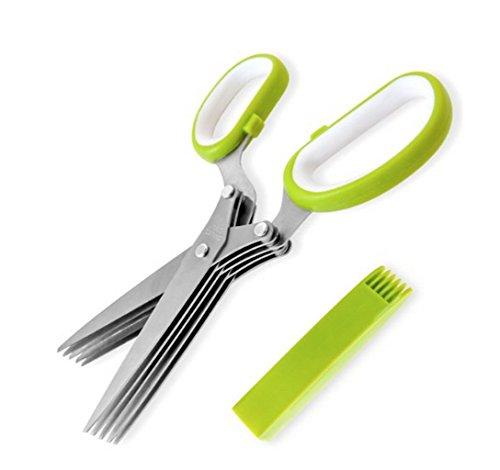 Stainless Steel 5 Blade Scissors (Green) - 9