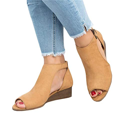Kathemoi Womens Wedge Sandals Peep Toe Ankle Strap Cutout Low Heel Summer Work Boots Brown