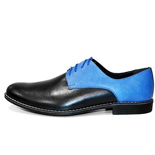 PeppeShoes Modello Areno - Cuero Italiano Hecho A Mano Hombre Piel Azul Zapatos Vestir Oxfords - Cuero Cuero Repujado - Encaje