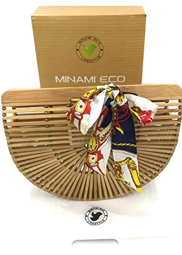 Womens Bamboo Handbag Handmade Small Tote Bag by Minami Eco