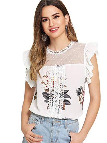 (SheIn Women's Dot Mesh Floral Print Ruffle Sleeve Top Lace Work Blouse Shirts X-Small White#1)