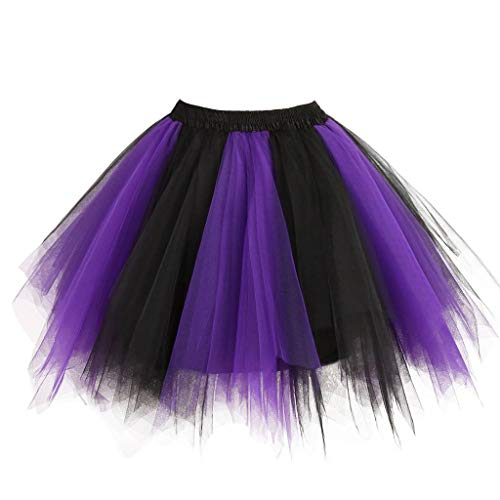 (Ellames Women's Vintage 1950s Tutu Petticoat Ballet Bubble Dance Skirt Purple-Black L/XL)