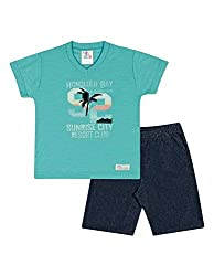 Baby Boy Outfit Graphic Tee V-Neck Shirt and Shorts Set 3-6 Months - Aquamarine