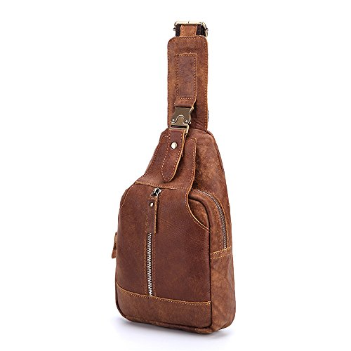 Shoulder Rucksack Travel Sport Chest Lightweight Sling Jxth Waterproof Hiking Brown Genuine Cross Leather Messenger Gym Casual Bag Backpack Bags Body wFw7fznHxq