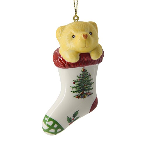 Spode Christmas Tree Ornament, Teddy Bear in Stocking (Teddy Bear Christmas Stocking)