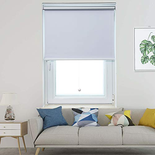 Allesin Cordless Roller Shades Blinds Spring Blackout Thermal White 23
