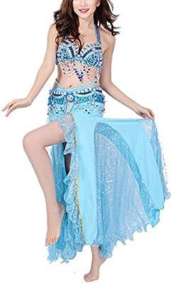 Qichengdian Falda de Danza del Vientre para Mujer Escenario Danza ...