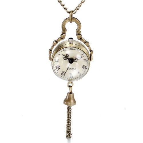 JewelryWe Retro Brass Convex Mirror Fisheye Glass Ball Pocket Watch with Roman Numerals Pendant Necklace from US