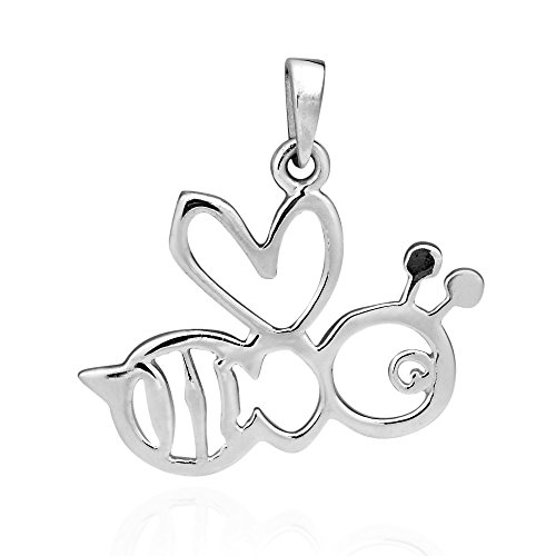 AeraVida Charming Cut-Out Bumble Bee .925 Sterling Silver Pendant