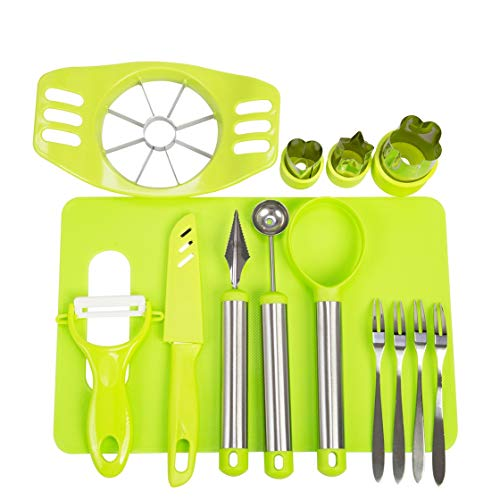 (Vegetable Fruit Cutter Shapes Set Fruit Carving Tools DIY Fruit Salad Tool Set Fruit Slicer Kit for Kitchen With Apple Cutter Corer,Citrus Peeler,Chopping Board,Cutter Shapes Set and)