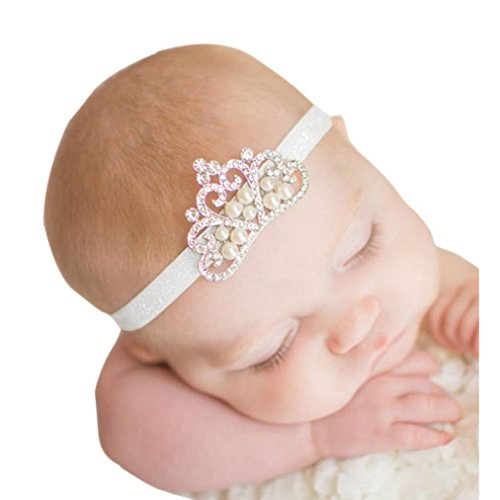 Gillberry Crown hair band Princess Baby Girl Crystal Pearl Crown Hairband (White) (Clothing & Accessories)