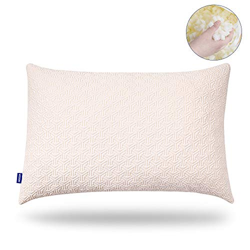 Veook Shredded Memory Foam Adjustable Pillows for Sleeping,Hypoallergenic Support | Side and Back Sleeper Use | All Night Cool,Relaxing Comfort (Standard)