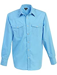 Gioberti Mens Casual Western Solid Long Sleeve Shirt With Pearl Snaps