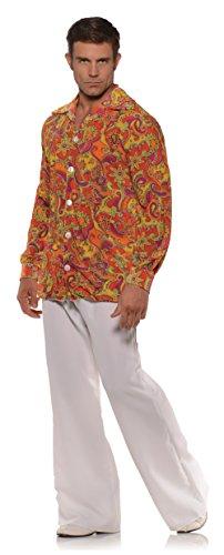 Men's Retro Hippie Costume Shirt - Groovy Orange -