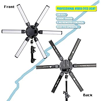FOSOTO Photographic Lighting Dimmable 3200-5600K 6 Tubes LED Photography Star Light Lamp for Camera Photo Studio Phone Shooting YouTube Makeup with Tripod Stand