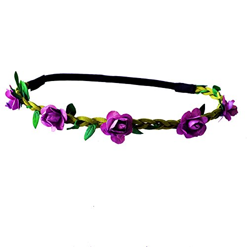 Festival Paper Roses Headband Leather Woven Floral Hair Band Flower Bridal Crown Hair Wedding Garland (purple red)