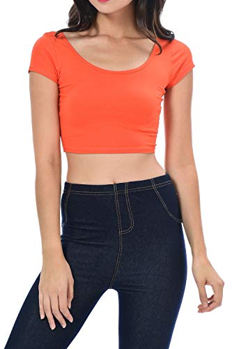 Womens Trendy Solid Color Basic Scooped Neck and Back Crop Top Orange Small