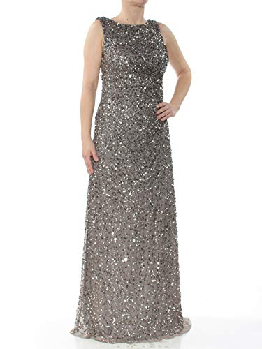 Adrianna Papell Women's Sleevless Cowl Back Beaded Long Gown, Lead, 6 from Adrianna Papell