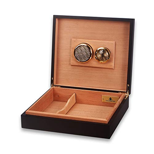 Portable cigar box Cigar Box, Cedar Wood Lined with Piano Paint Cigarette Case, Compact Cigar Cabinet, Can Hold 20 Cigars, Detachable Partition with Humidifier and Hygrometer Cigarette Case, Men's Gif by Ac498 (Image #6)