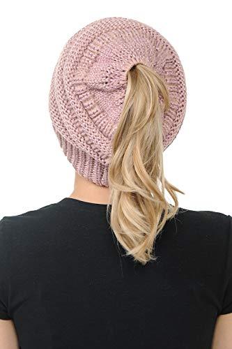 BYSUMMER CC Cable Knit Beanie Messy Bun Ponytail Warm Chunky Hat (Rose/Metallic Rose)