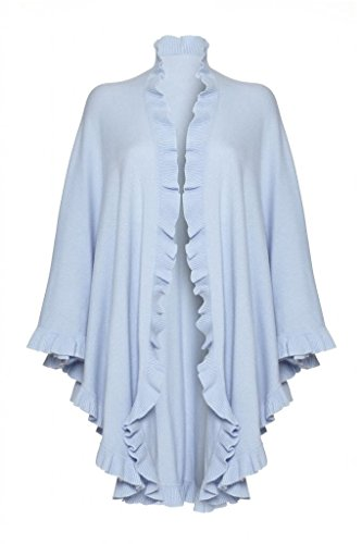 Pure Cashmere Ladies Frilly Cape, Baby Blue, One Size