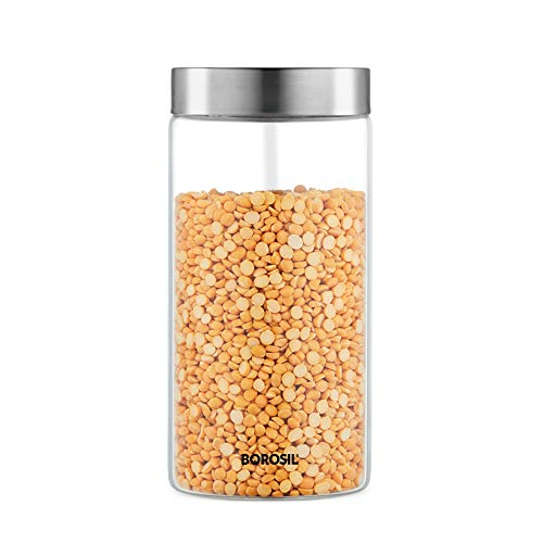 Borosil – IDVGJSS1200 Endura Glass Storage Jar with Stainless Steel Lid, 1.2 Liter Price & Reviews