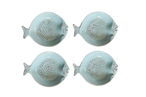 Creative Co-Op Ceramic Fish Shaped Dish Set, Multicolor (Fish Plate Set)