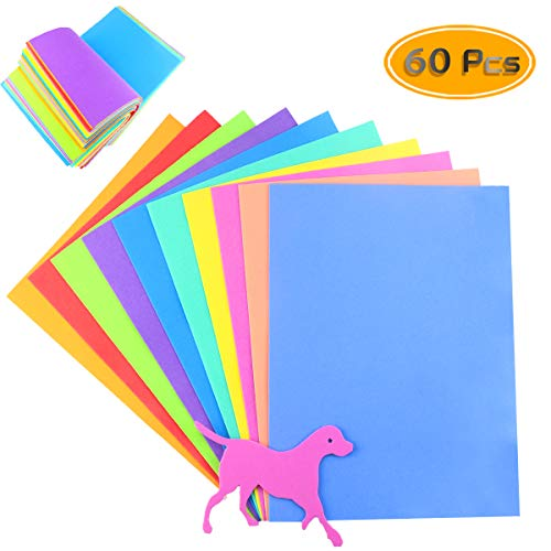 BcPowr 60PCS EVA Craft Foam Sheets, Foamie Sheets Rainbow Foam Handicraft Sheets Colorful Crafting Sponge For Arts DIY Projects, Classroom, Scrapbooking, Parties(10Color, 11