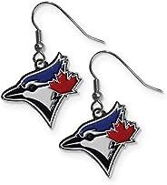 Aminco Womens MLB Toronto Blue Jays Dangler Earrings, Silver, 2-inches