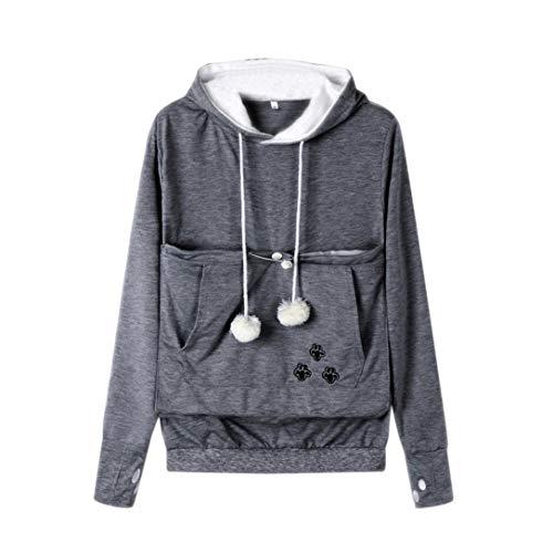 (Rambling Fashion Women Cat Ear Big Kangaroo Pouch Hoodie Long Sleeve Pet Cat Dog Holder Carrier Sweatshirt Dark Gray)