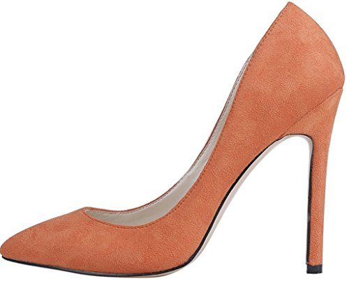 Calaier Womens Caeverybody Pekte Tå 10cm Stiletto Slip-on Pumper Sko Orange