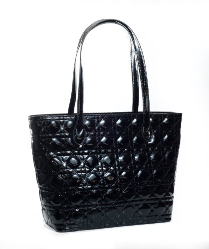 Designer Inspired Premium Quality Shiny Quilted Luxury Elegant Large Soft Tote Purse Satchel Shoulder Bag in Black
