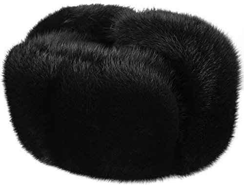 Russian Legacy Black Mink Fur Ushanka Winter Hat (Medium)