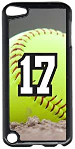 Softball Sports Fan Player Number 17 Black Plastic Decorative iPod iTouch 5th Generation Case by lolosakes