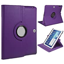 "Xtra-Funky Exclusive Samsung Galaxy Tab 4, 10.1"" (T530) PU Leather 360° Degree Rotating Stand Smart Case With Auto Wake / Sleep Function Includes a Soft Tipped Stylus & Screen Protector - PURPLE"