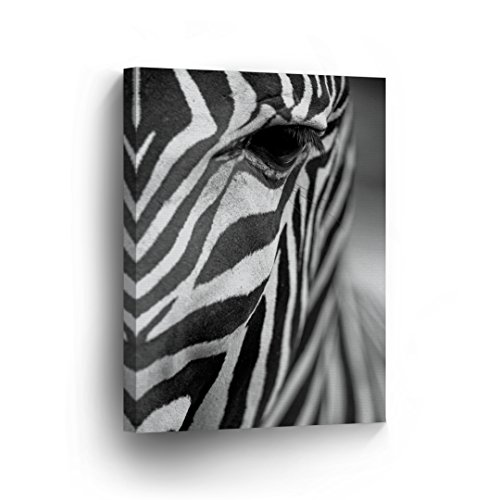 Zebra Eye Picture Photo Zoom in Half Face Canvas Print Safari African Decor Black and White Wall Art Living Room Home Decor Artwork - Ready to Hang - 36x24 inches