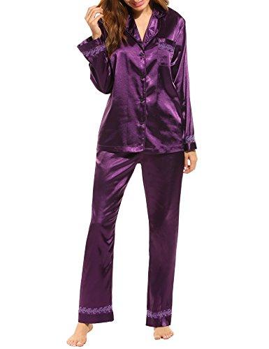 Hotouch Womens Silk Satin Pajamas Set Sleepwear Loungewear Deep Purple XL (Womens Purple Pajamas)
