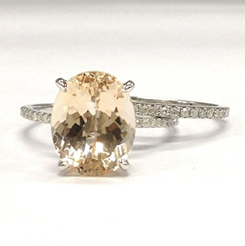Oval Morganite Engagement Ring Bridal Set Pave Diamond Wedding 14K White Gold 10x12mm by the Lord of Gem Rings