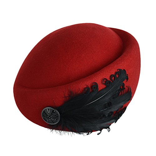 Voberry® Women's French Beret Beanie Cocktail Pillbox Hat Fancy Wool Elegant Cap (Red)