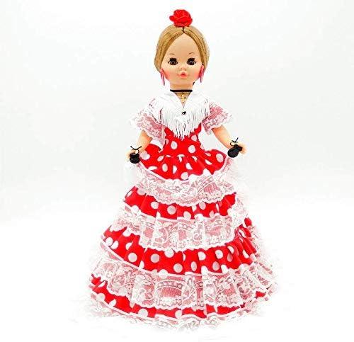 Folk Artesanía Muñeca Sintra 42 cm Similar Nancy Famosa Vestido típico Andaluza con Flor (Negro Lunar Rojo)