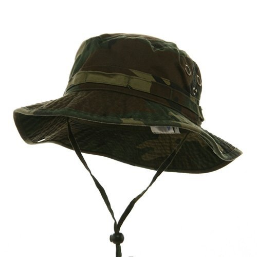 Wholesale Camouflage Cotton Fishing Hunting Hiking Outdoor Bucket Hat w/ Chin Cord (Green Camo, Size L) - -